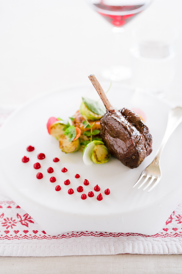 "Cristallo Resort & Spa: This is a dish at Stube restaurant called ""Roasted deer chop with crunchy vegetables, sautéed Brussel sprouts and red currant gel"""