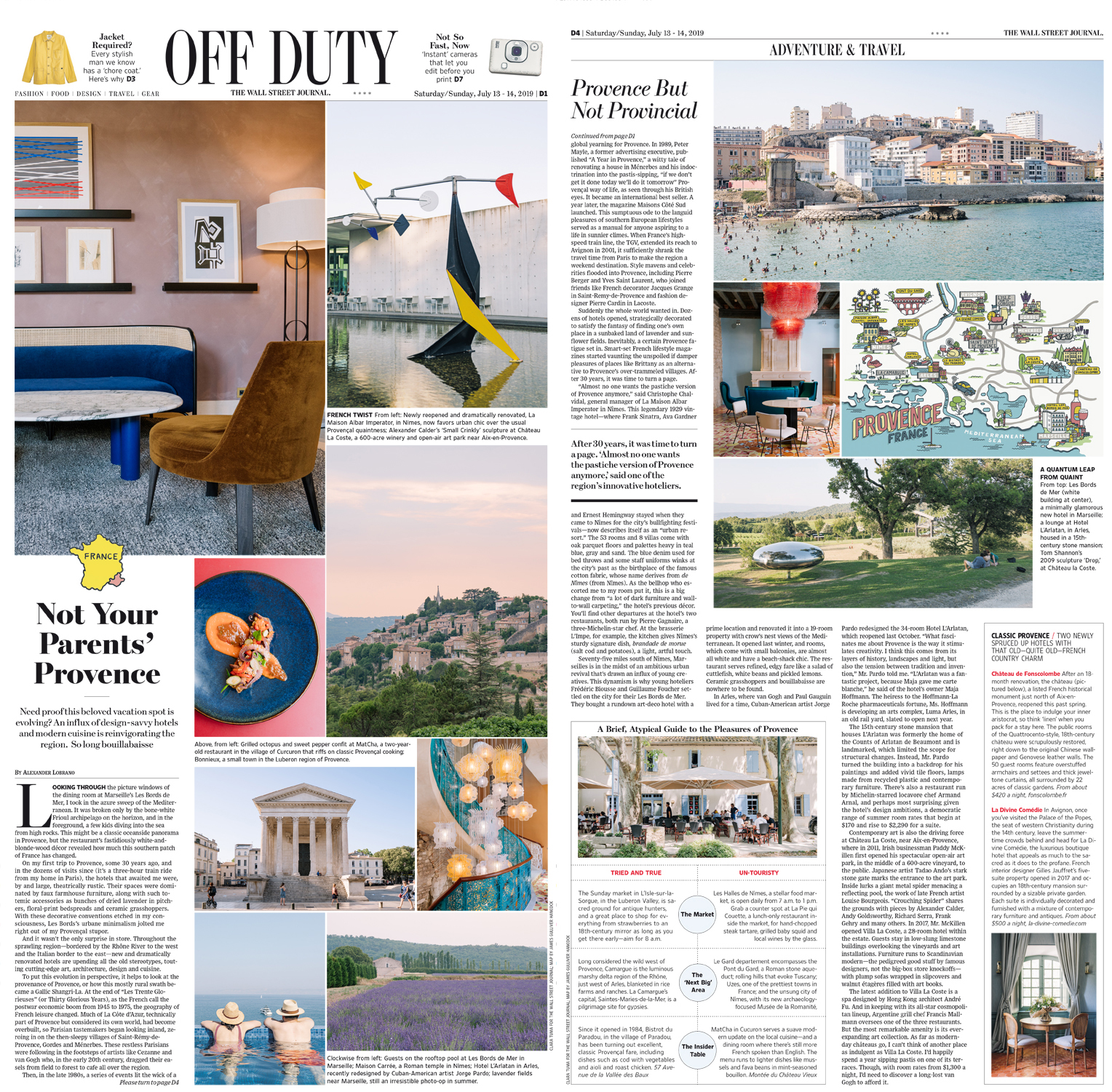 Travel feature on Provence for The Wall Street Journal - Off Duty