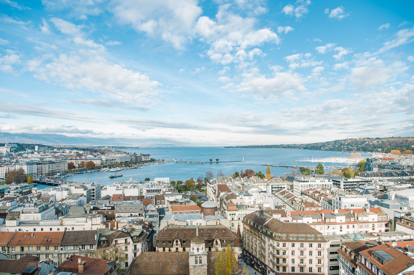 View of Geneva and the Lake of Geneva from Cathedral Saint-Pierre, Geneva, Switzerland