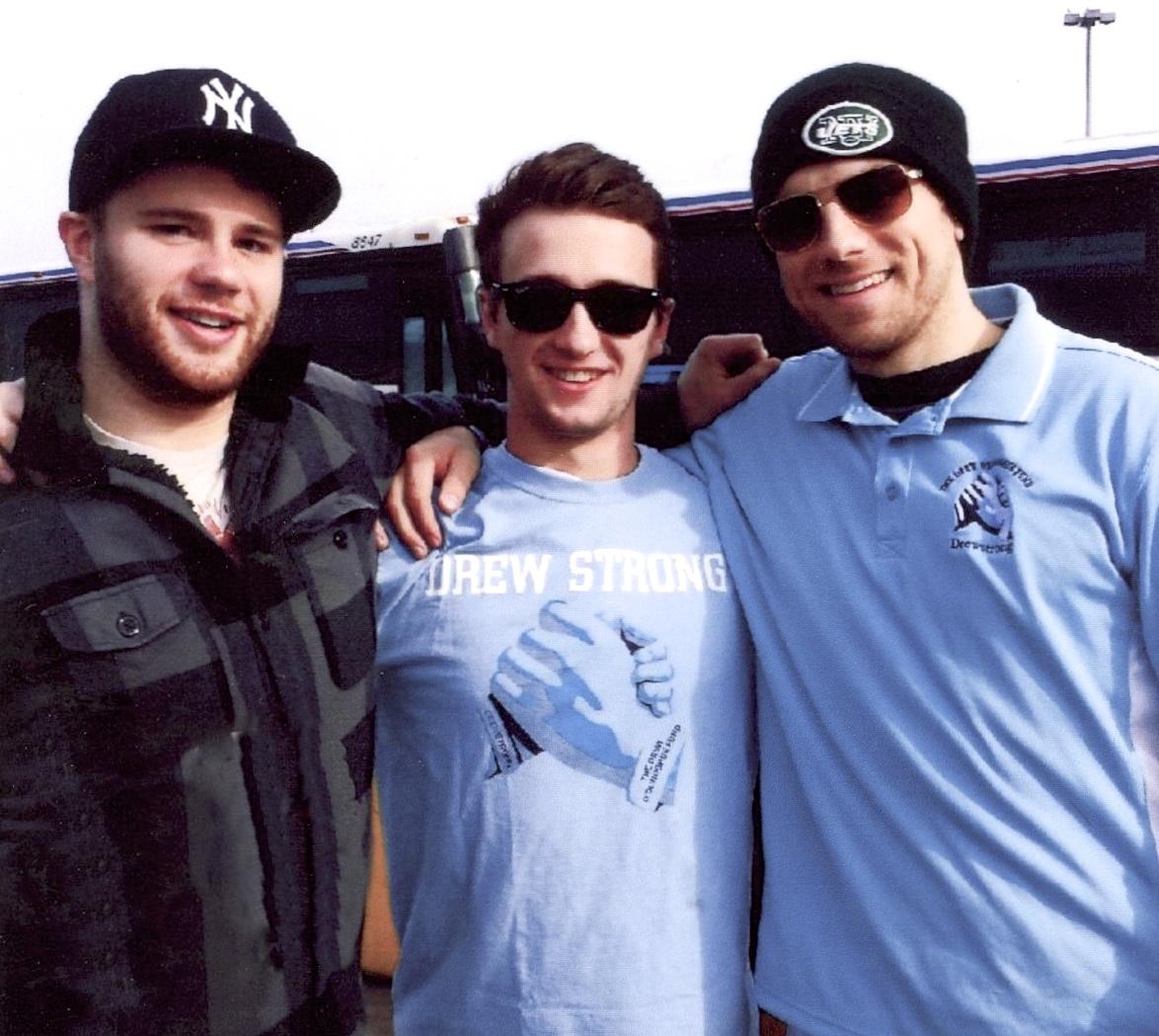 Cousins Liam Kristinnsson, Patrick O'Donoghue (Drew's brother) and Greg Vogel at MetLife Stadium.