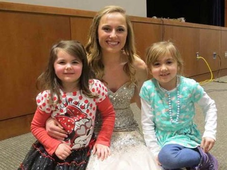 Fashionistas!  Sarah Wyatt (center) and her future-modelcousins, Lily Doninger (left) and  Hannah LaCoe (right), at the annual Hunterdon Central Fashion Show on March 6, 2015.