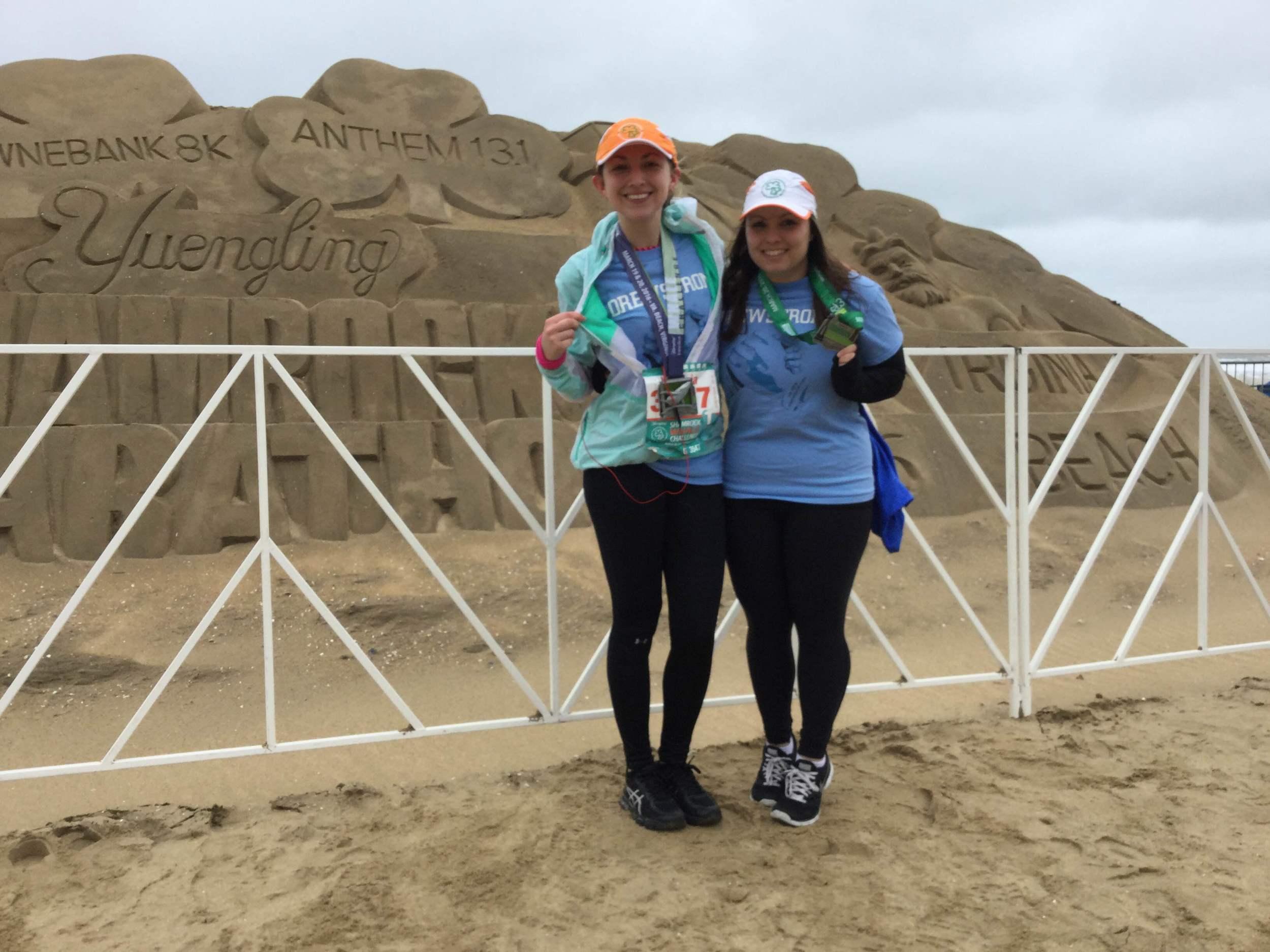 Torie Grice (left) and Tina Wyatt after their Shamrock Marathon run.
