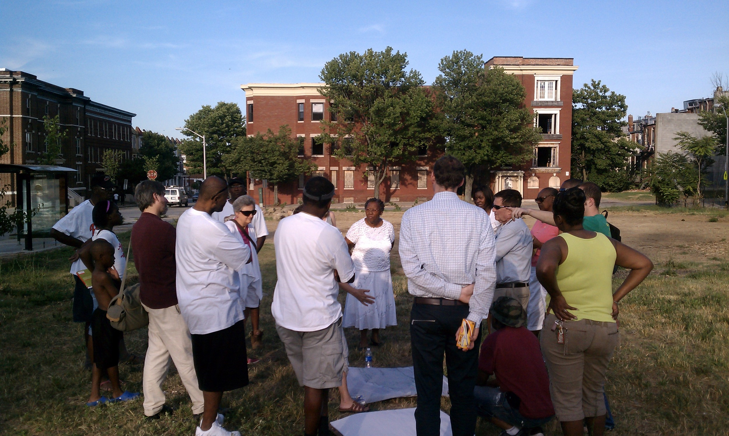 Residents gather at a design meeting (Summer 2011)