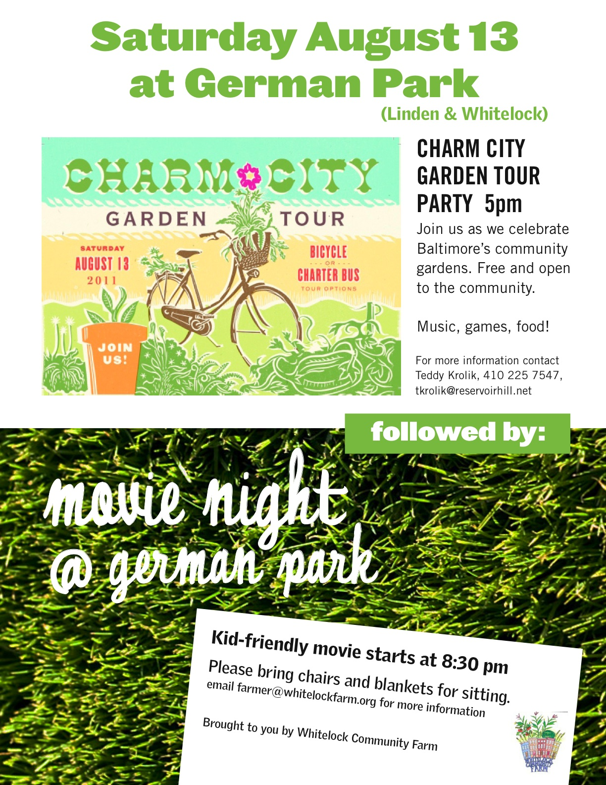 Final 08 13 11 Garden Tour and movie flyer