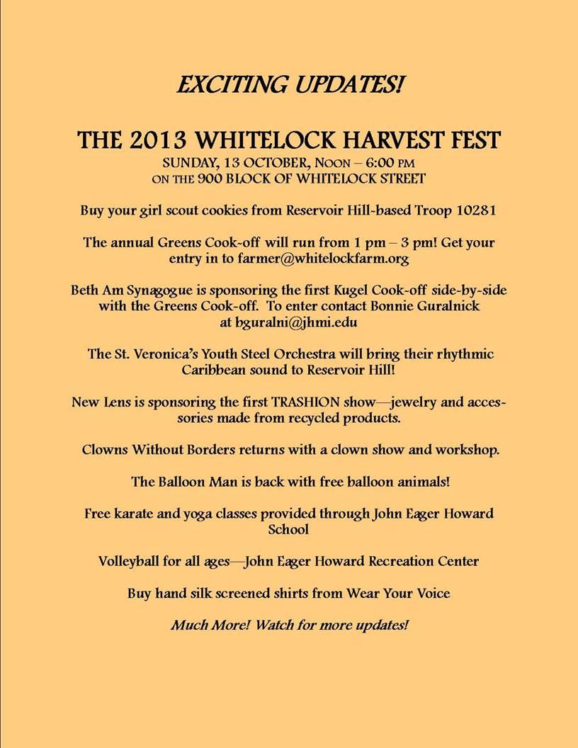 2013 Whitelock Harvest Fest info