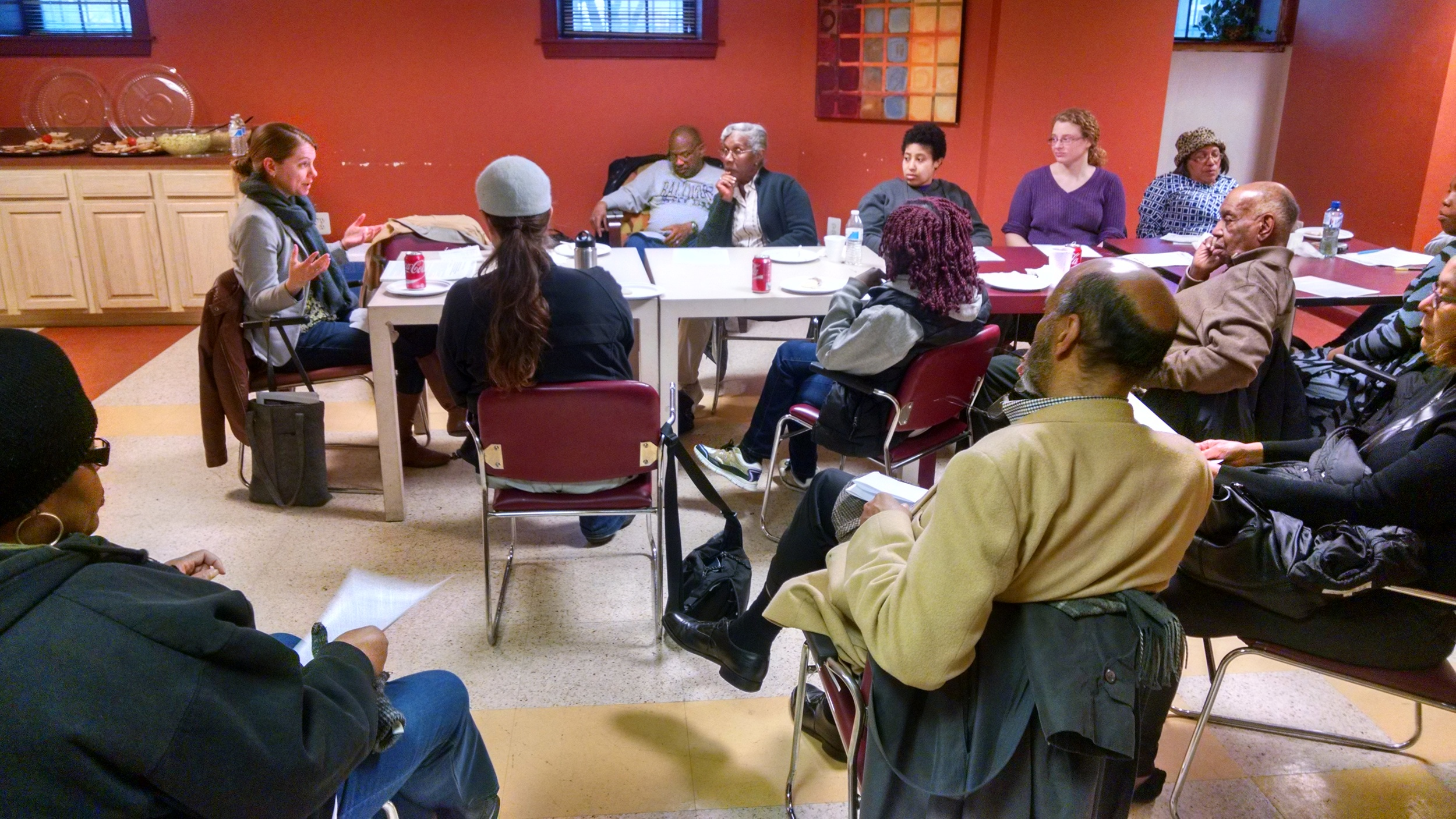 Lakeside area residents in Reservoir Hill discuss the West North Avenue Streetscape recommendations with Laura Bowe Wheaton from Neighborhood Design Center