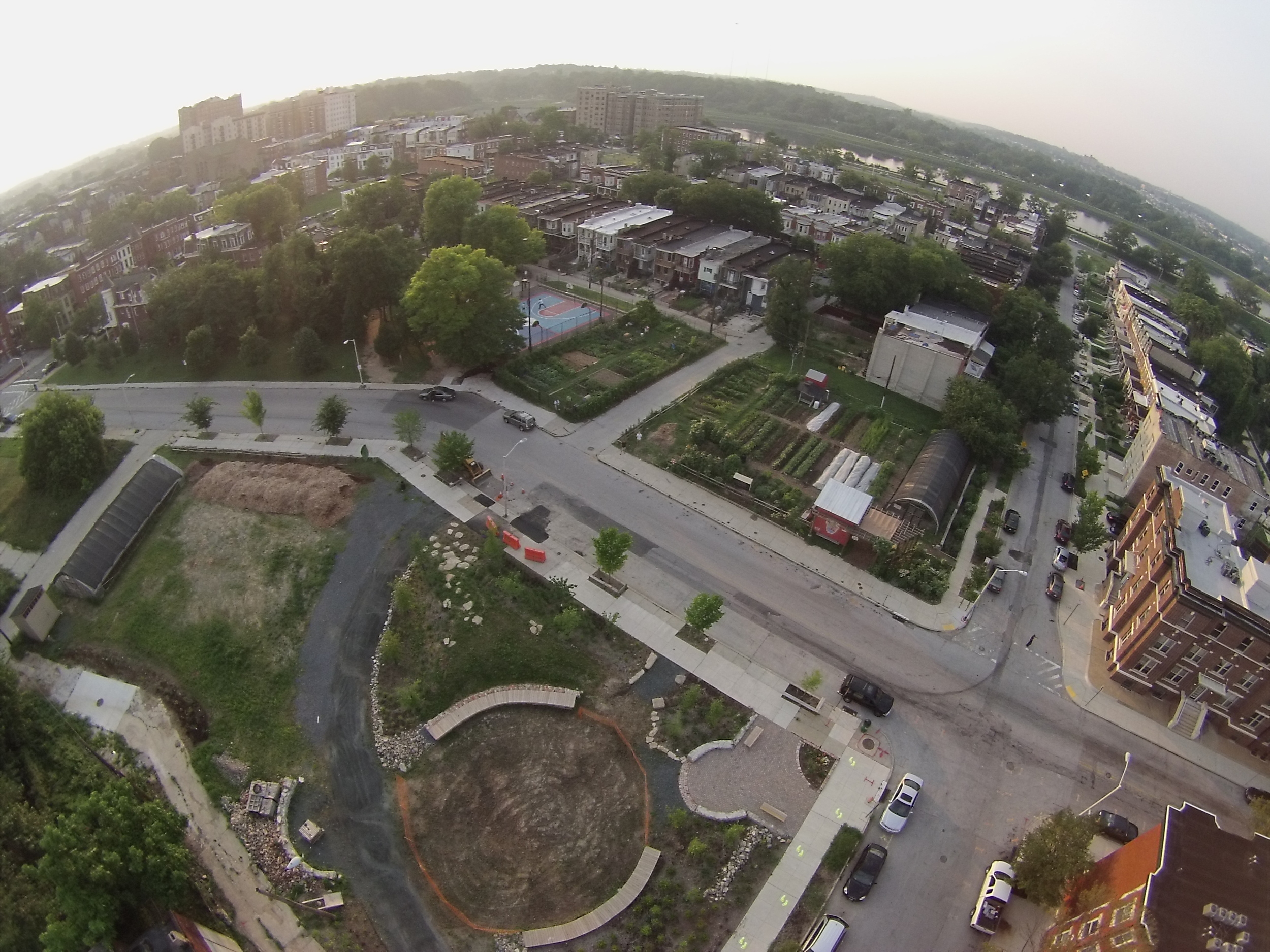 "The Whitelock Community Farm and ""South Lots"" as of July 1, 2015.  There is still work to be done, but we have come along way from the vacant lots that lined the street for more than 15 years.  Soon grass will be growing in the circle area of the South Lots, and residents will gather for community events!"