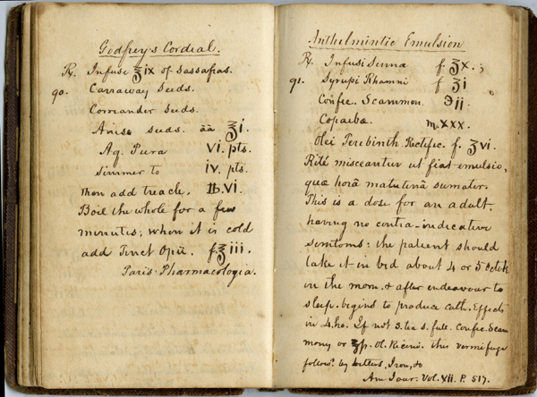 godfrey's cordial recipe from the journal of Dr. John Davidson of Florida, 1843