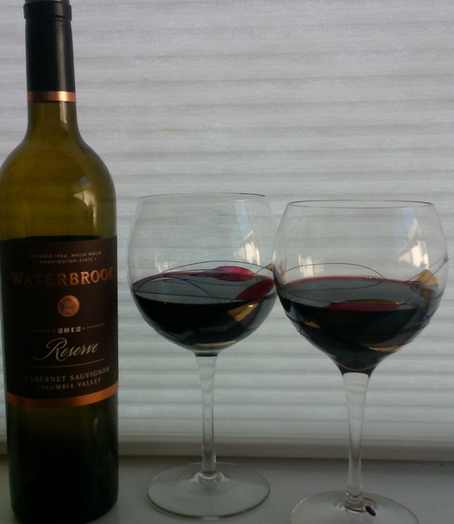 Favorite glasses used to share with MANY favorite people--wine from great client!