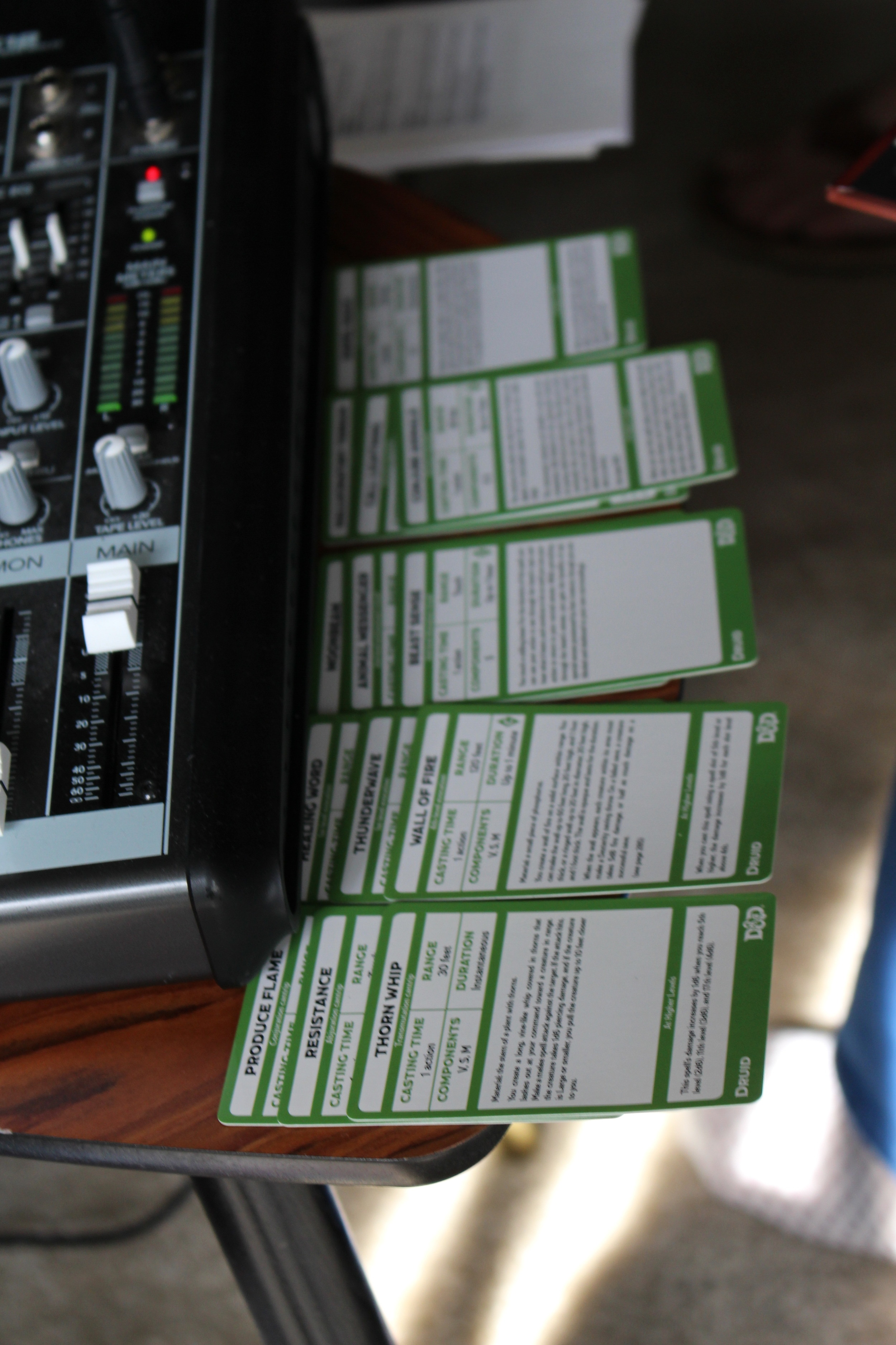 Izzy's spellcasting cards