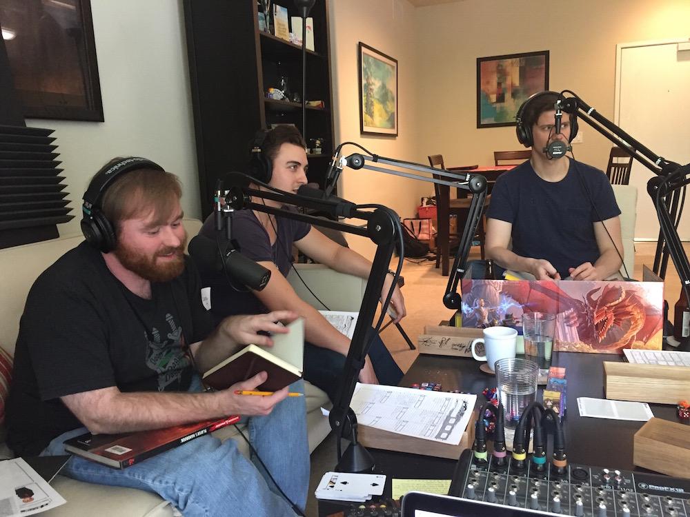 Mike Christensen (Sweeney), Taylor Glockner (Elon), and Jay Jones (the Dungeon Master)