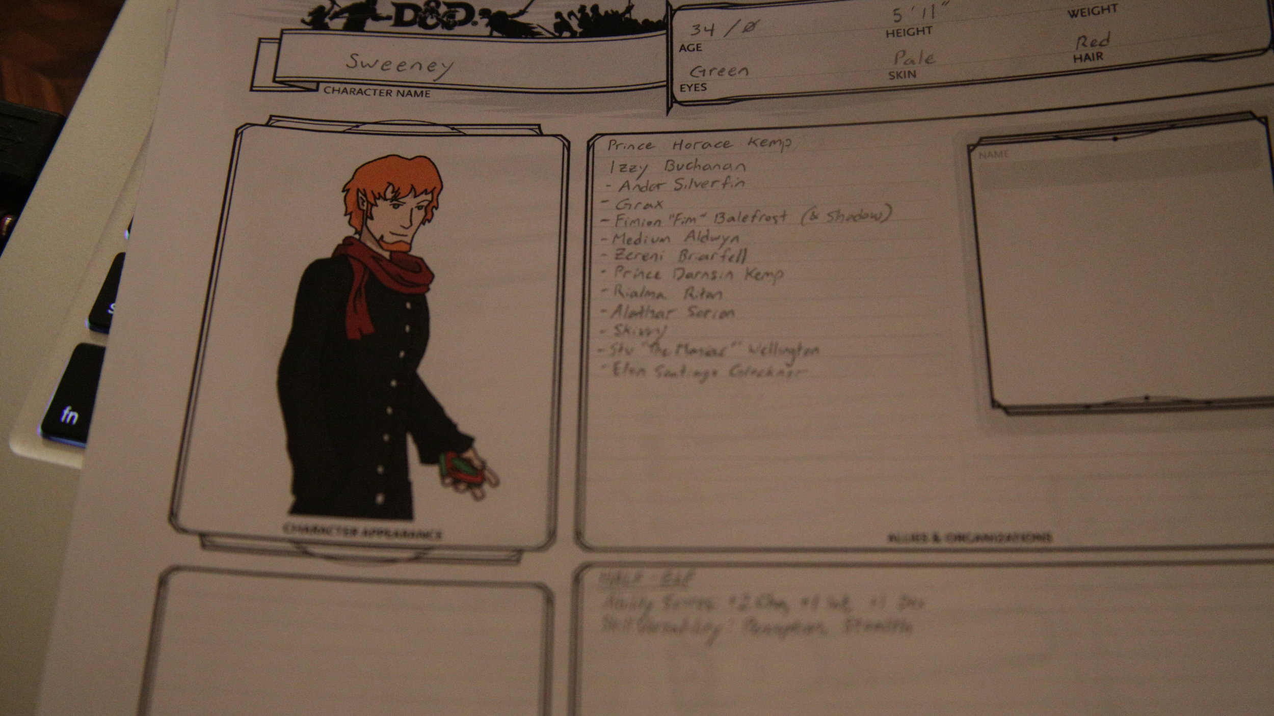 Copy of Sweeney's character sheet (from Season 14)