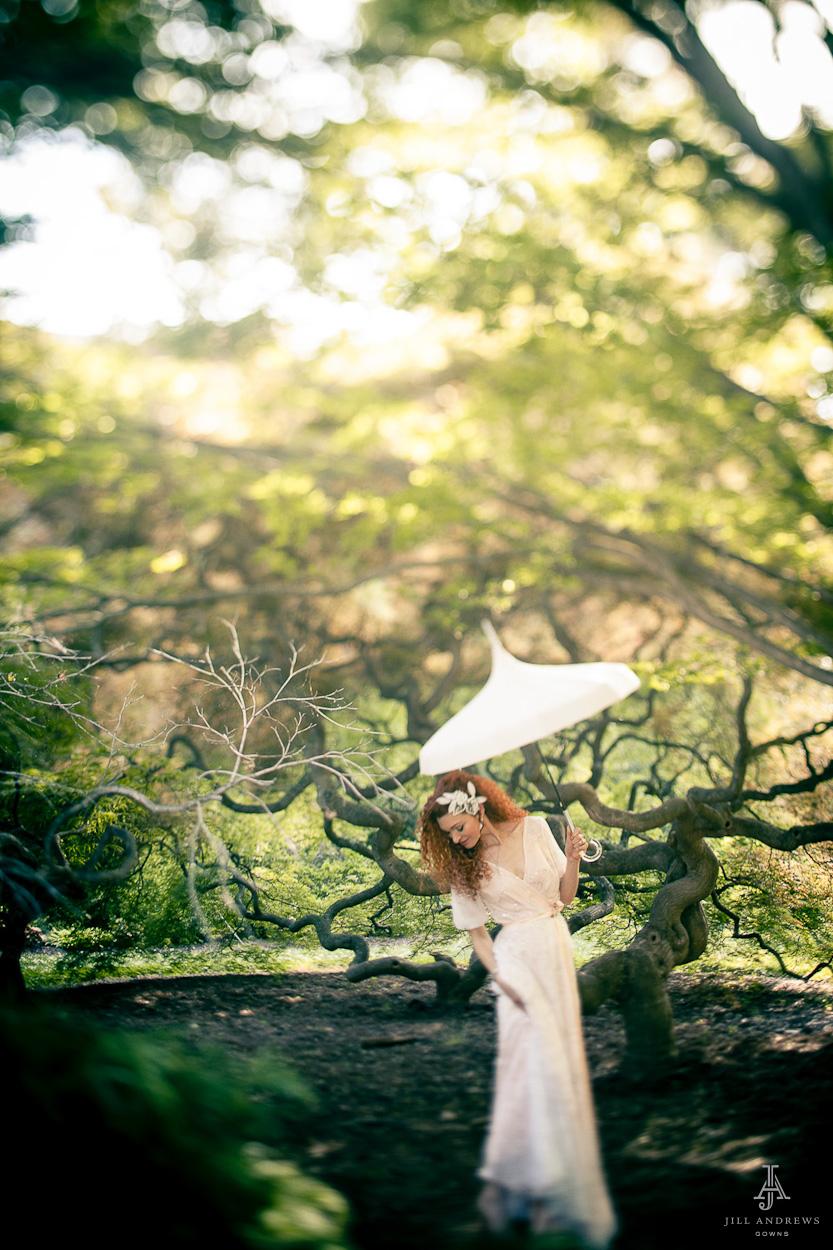 Bride in a blush wedding dress