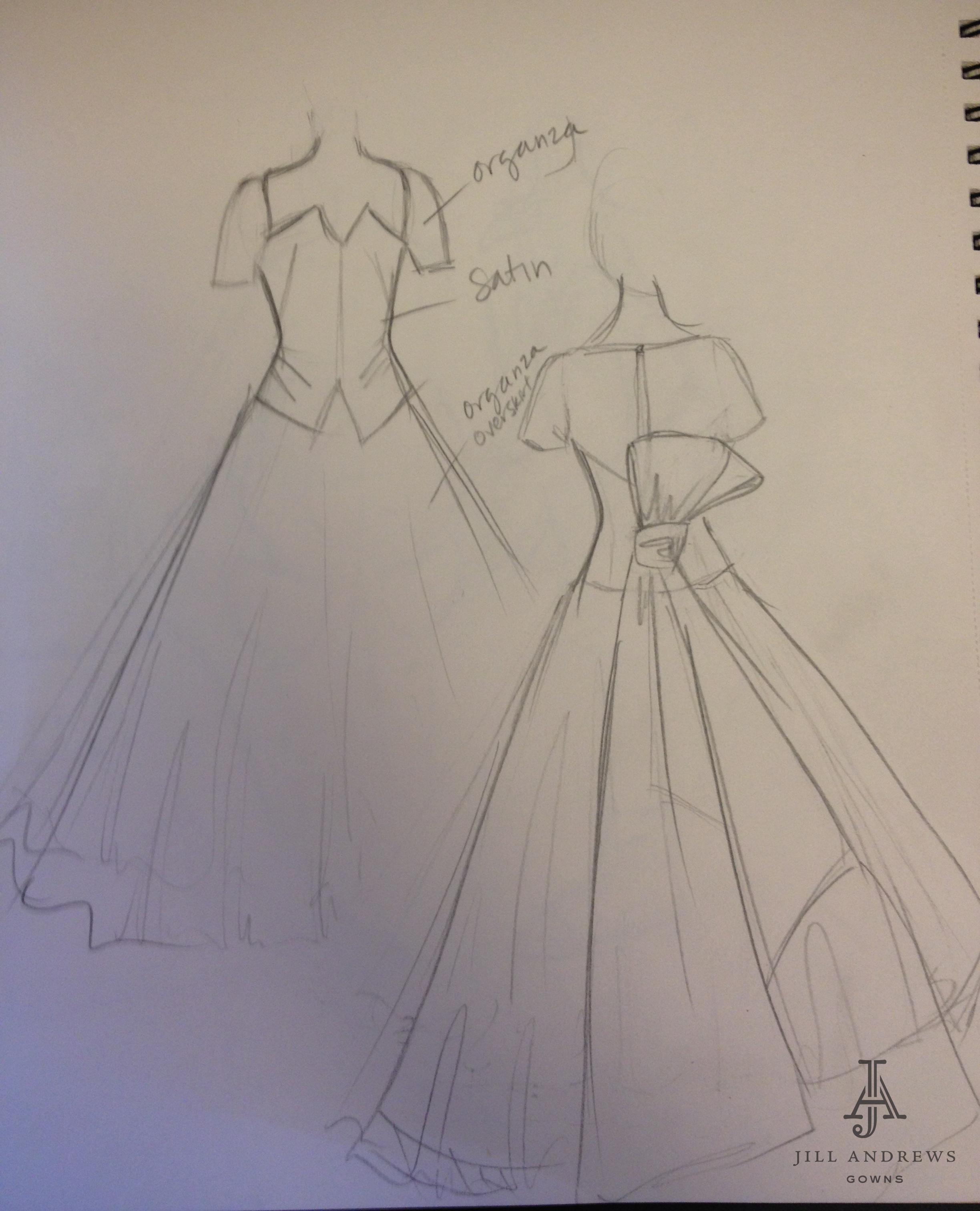 sketch of wedding dress