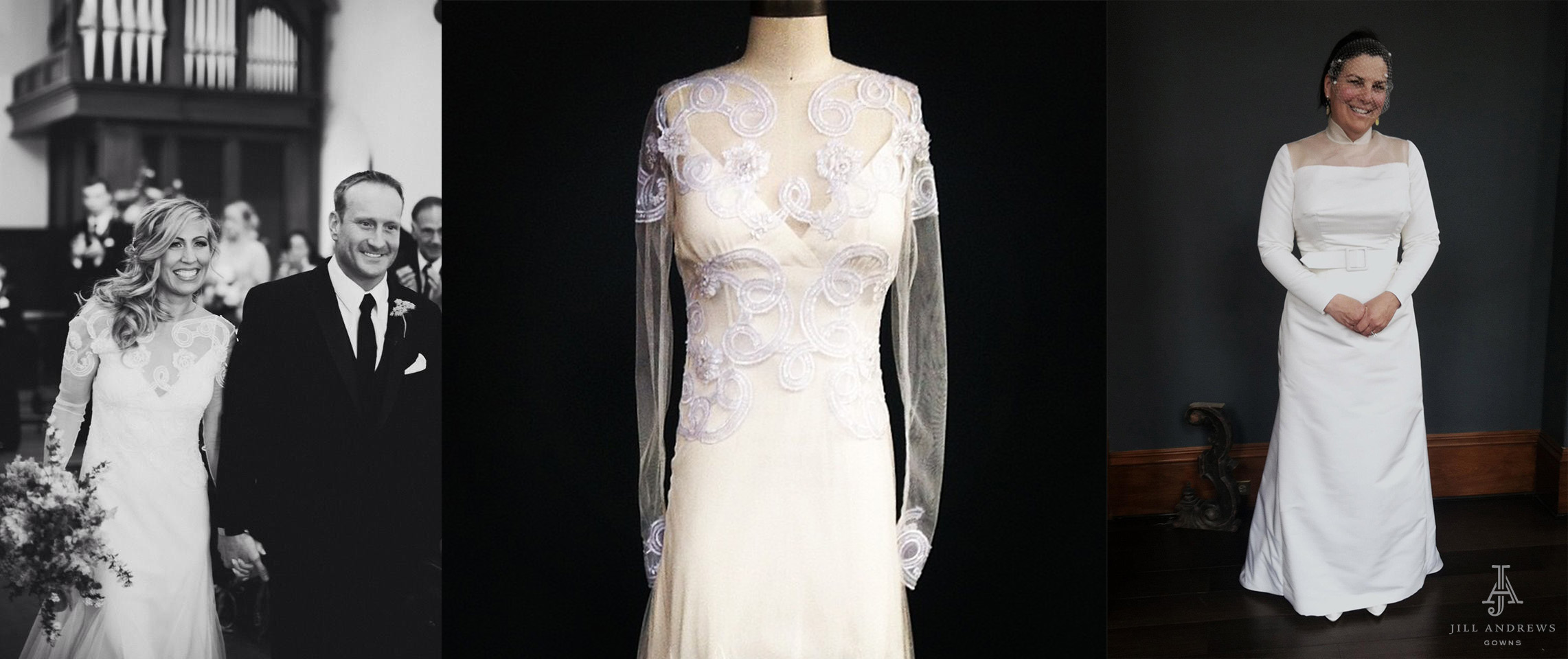 September brides in custom wedding dresses with long sleeves