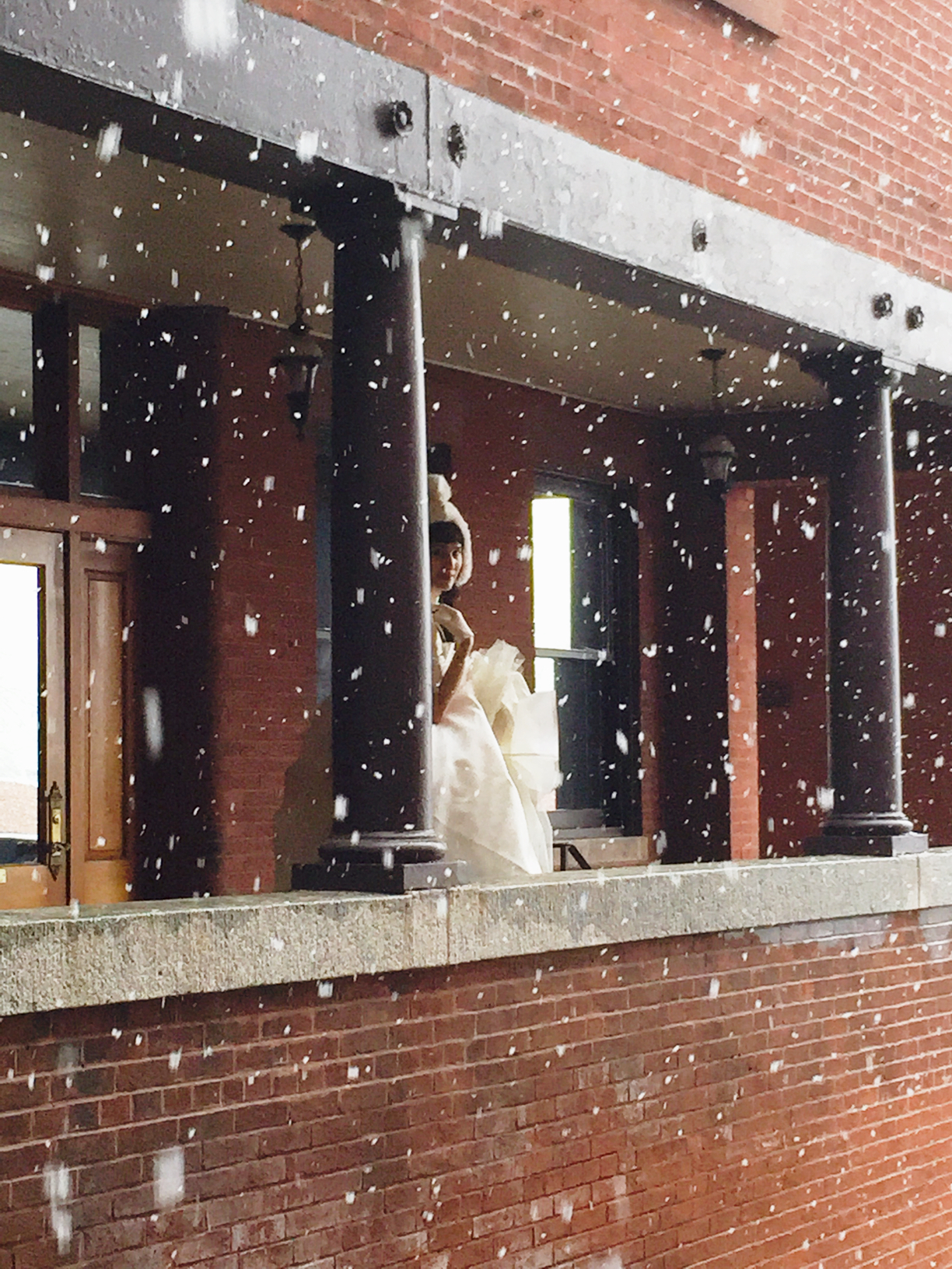 Winter Bride on a porch