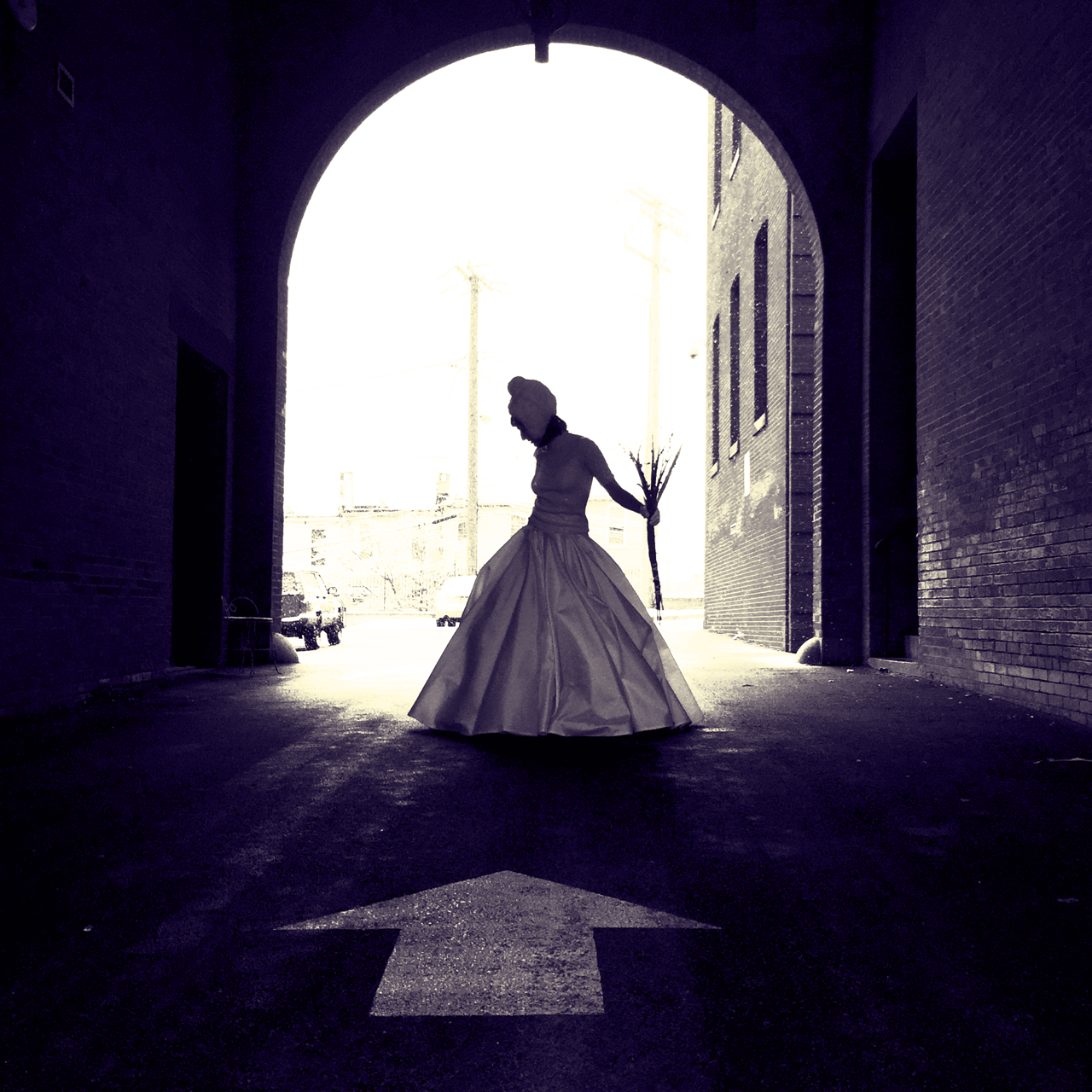 bride in silhouette in ball gown
