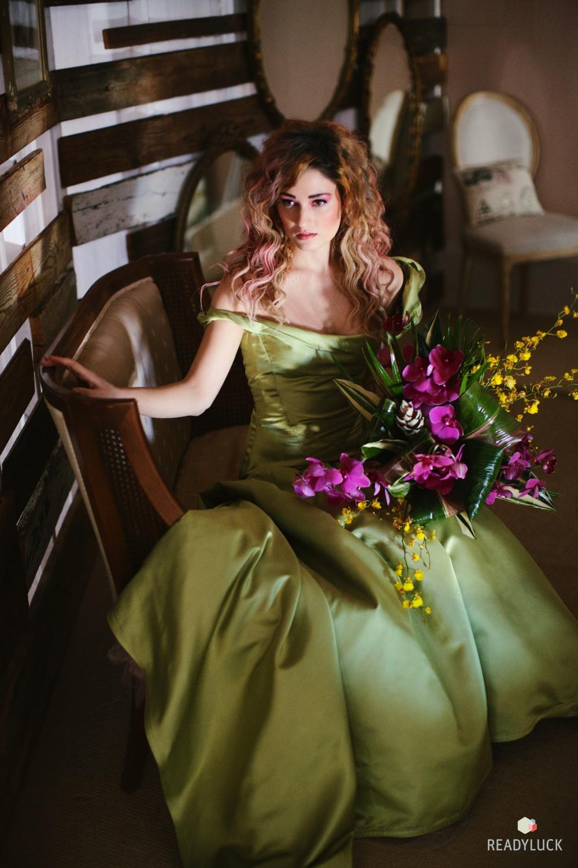 Bride in custom wedding gown