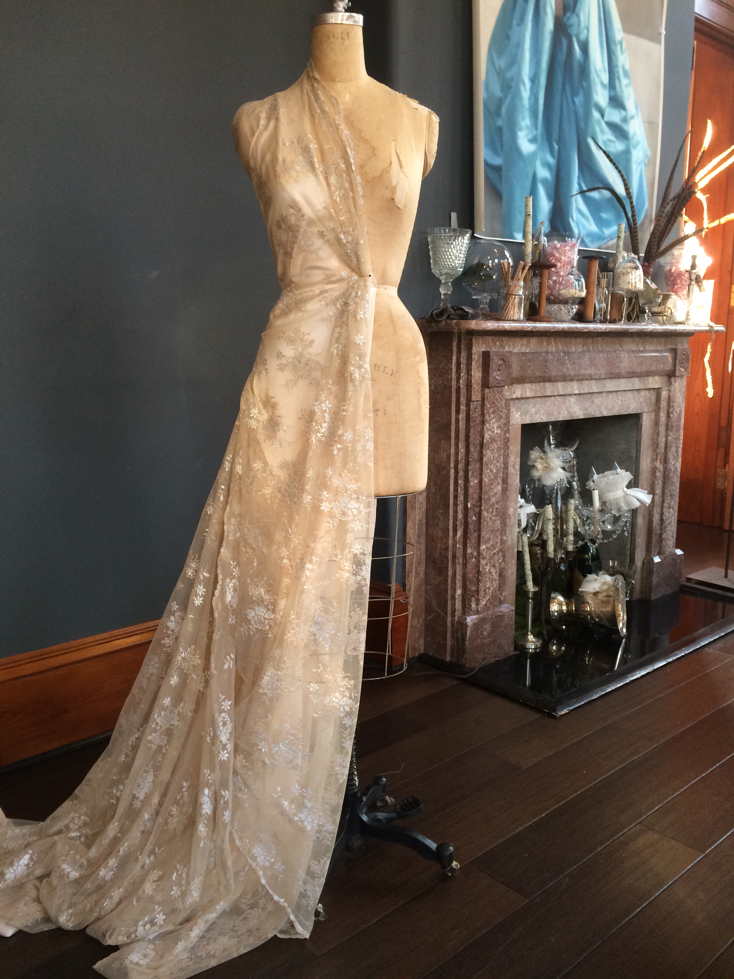 Draping lace for a custom gown