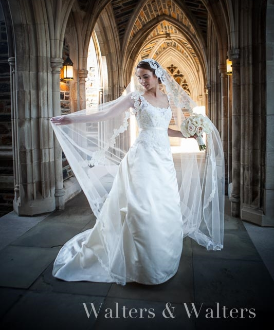 Bride in Jill Andrews gown and mantilla veil