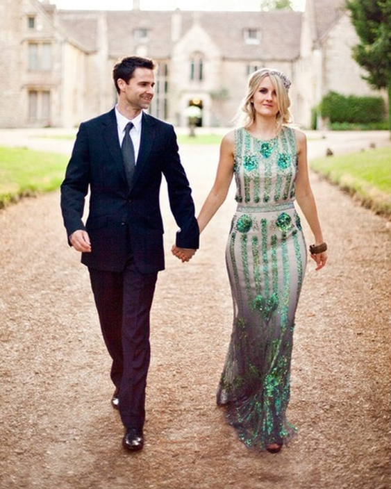 Art Deco Wedding Dress Mood Board | Emerald Sequin Dress