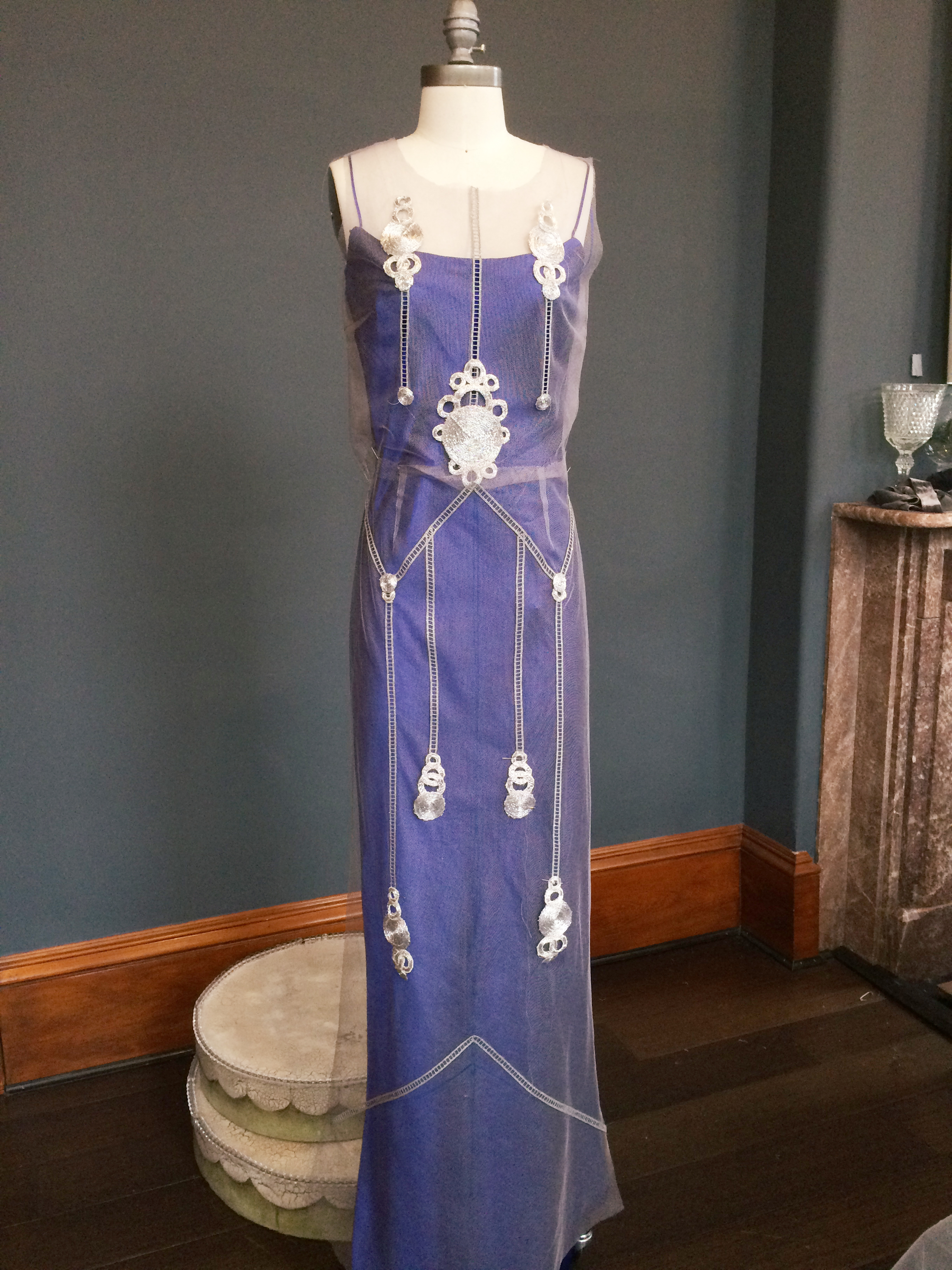 Art Deco Blue and Silver Wedding Dress