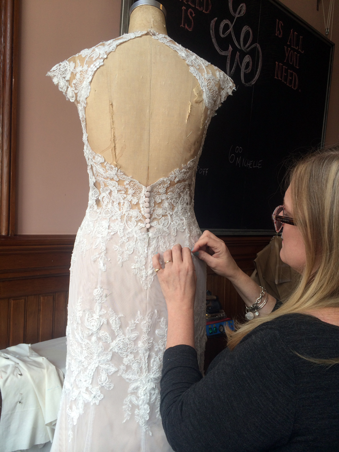 Jill at work on Shannon's beautiful gown.