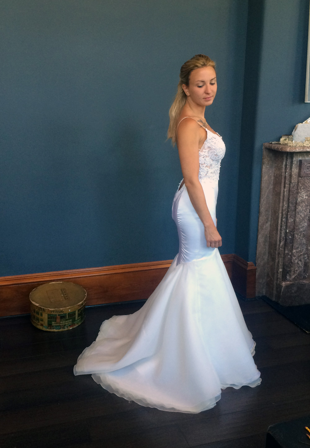 Krysta during her final fitting, looking every bit the bride – even before hair and makeup!