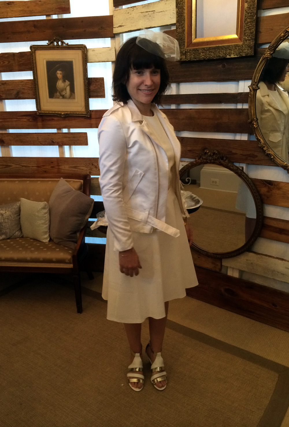 With her crisp and clean white dress and funky accessories, Kristyn's satin moto jocket was spot on!