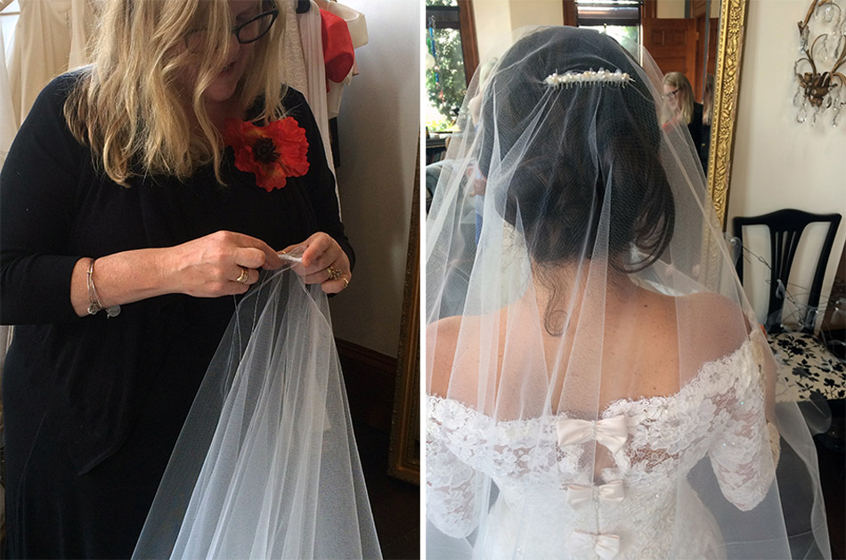 Jill added pearls and beads to the comb of Barbara's veil for an added dose of bridal sparkle.