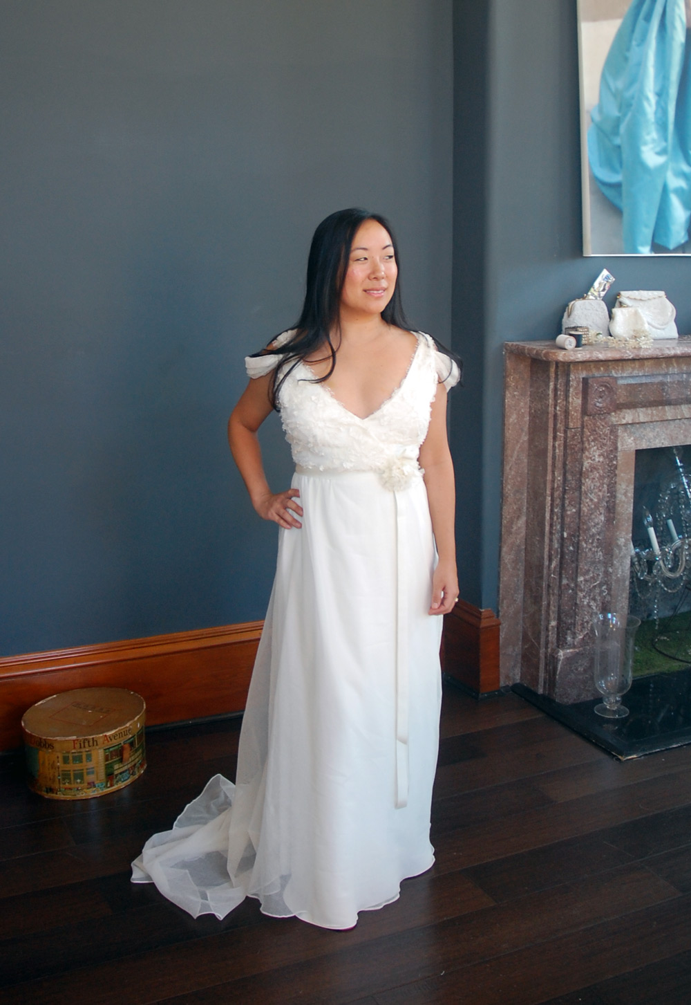 Maria knows how to work her angles in her custom wedding gown!