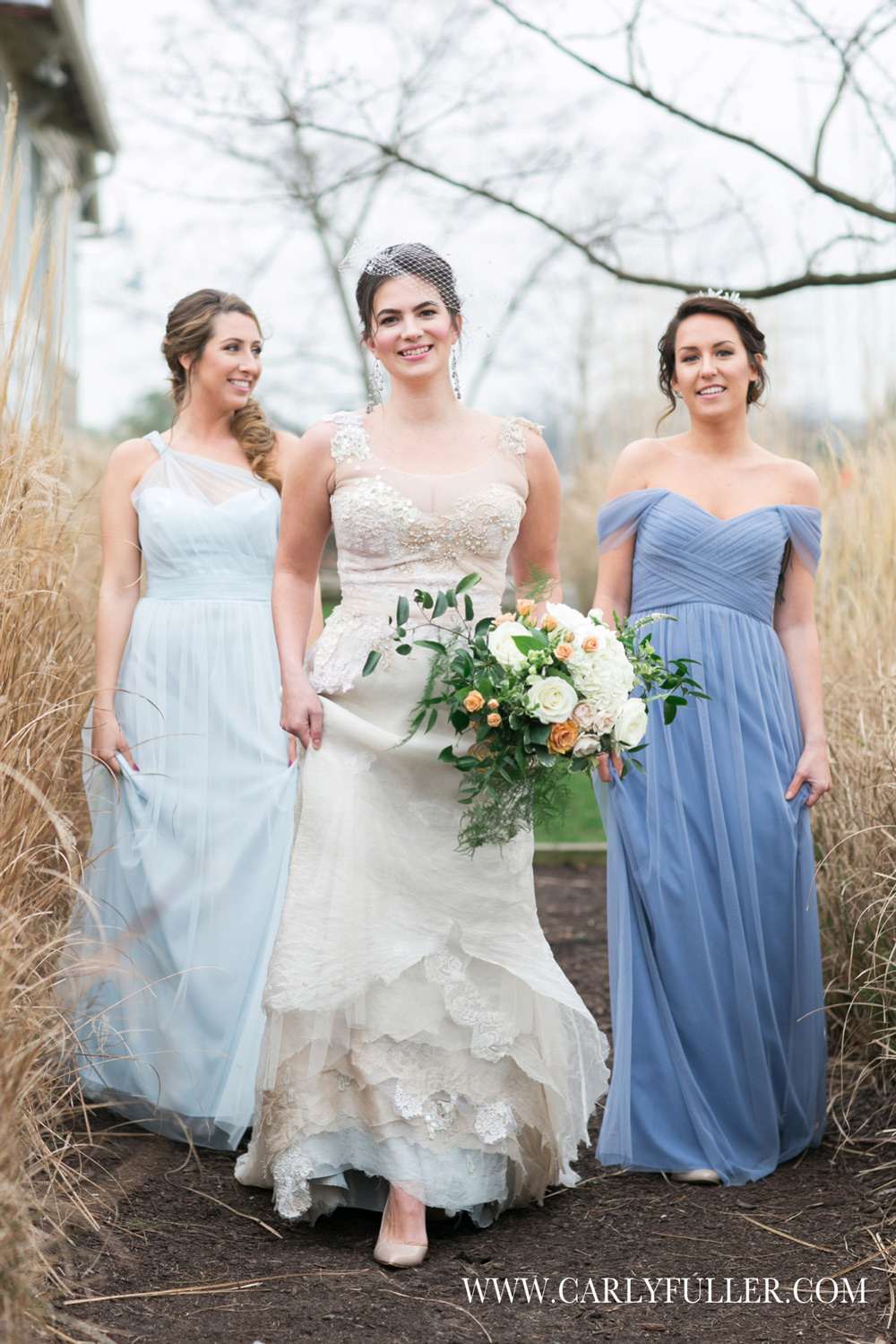 Our bride in couture Jill Andrews Gowns, with her lovely maids in dresses by  Bella Bridesmaids . All headpieces by Jill Andrews Gowns.