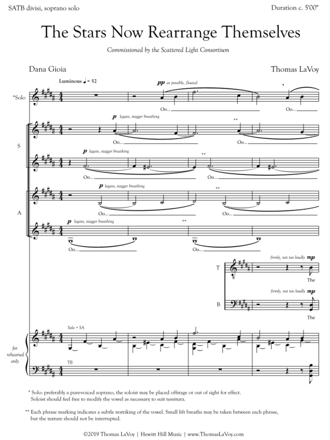 The first page of the score, displaying the cutaway staves for tenors and basses.