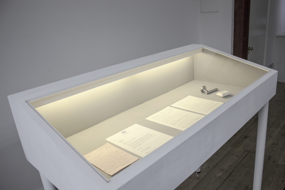 Referral,  documents and objects in vitrine, 2015