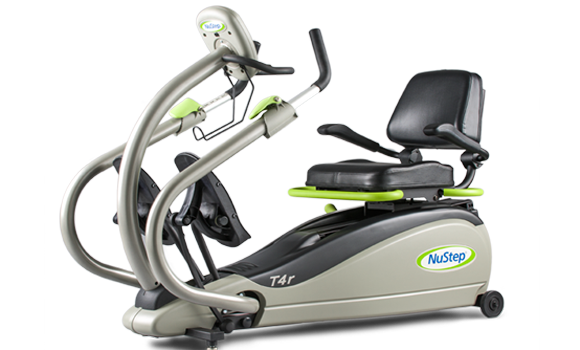 NuStep - The T4r provides a smooth and natural motion that delivers a low impact, inclusive, total-body cardiovascular and strengthening workout for virtually all users.   Get a low impact workout with high impact results.Comfortable 360° swivel seat- Easy to get on and off- Adjusts forward and backward to accommodate different leg lengths- Wheelchair height- Supportive armrests that flip up