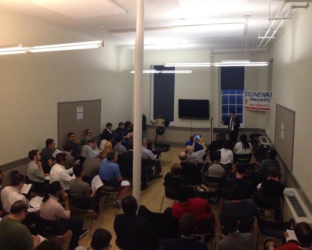 NYS Senator Brad Hoylman speaking with SDNYC members at yesterday's endorsement meeting.