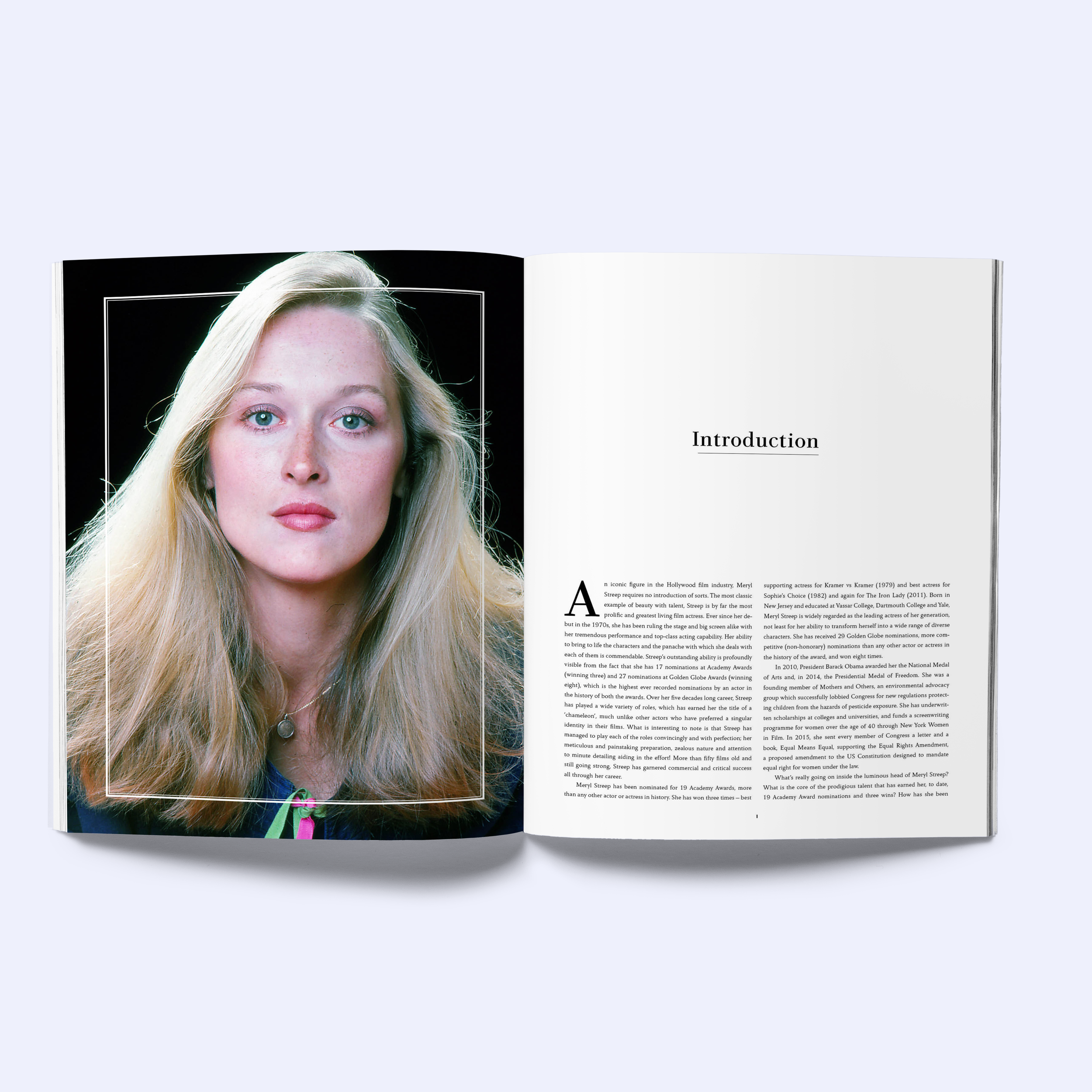 A Guide to the Characters of Meryl Streep, interior book design