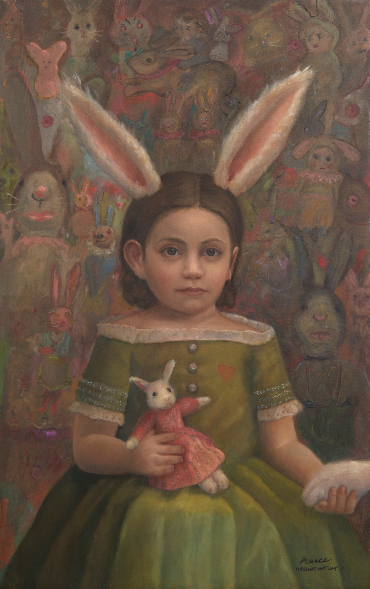 """""""Plethora"""" 15 inches x 24 inches, 2017 Oil on Linen SOLD  Patsy was her favorite. They were going to tear her from limb to limb. Equipped, with accessories, she entered the backyard operation that was horribly out of control. She hypnotized the others, and arranged them by color. One reached out and offered his paw for luck."""