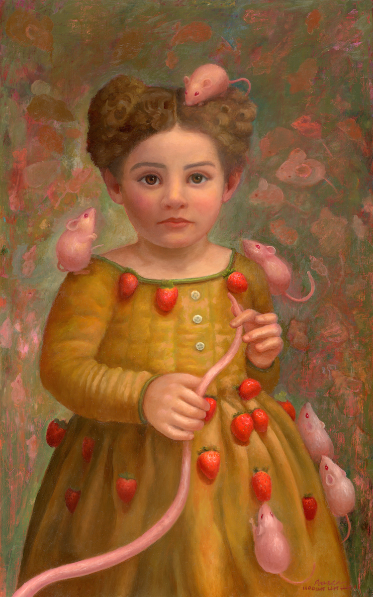 """""""Mou Mou"""" 15 inches x 24 inches, 2017 Oil on Panel, SOLD  Like all good mothers, she fed them strawberries, so they would grow up to be nice and pink."""