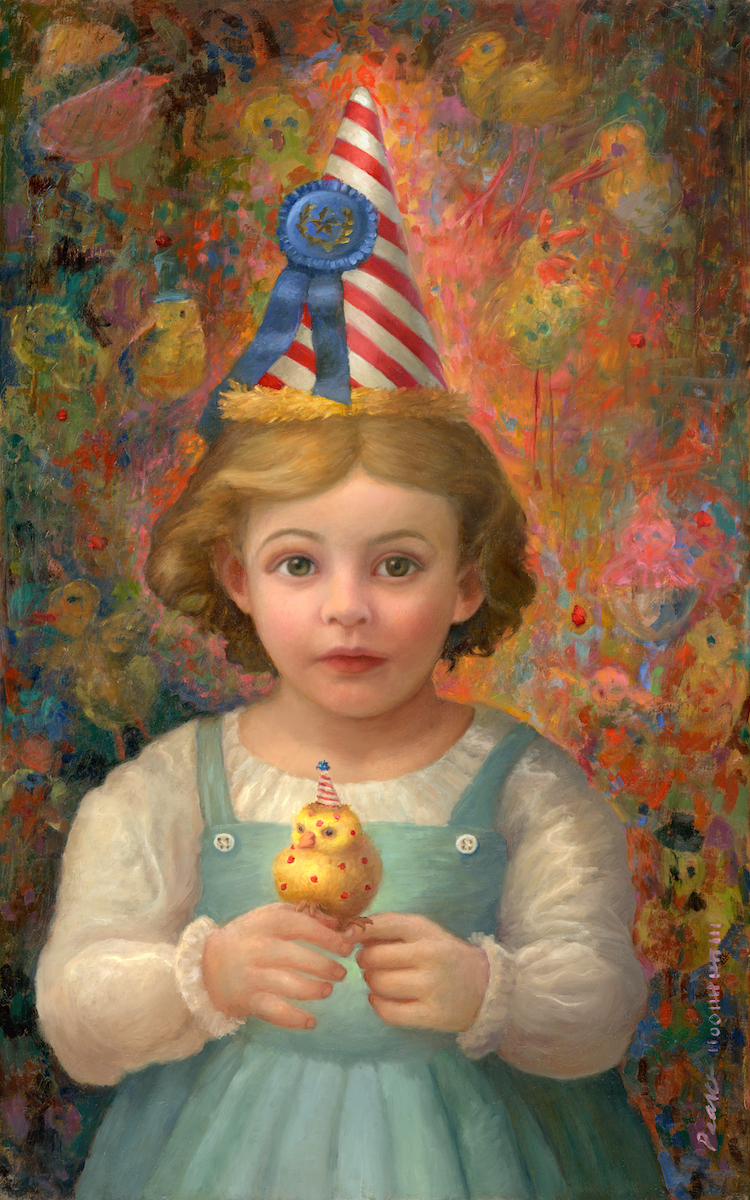 """""""Blue Ribbon Chicken"""" 15 inches x 24 inches 2017 Oil on Linen SOLD  Even though he had the pox, she knew he was the world's greatest chicken."""