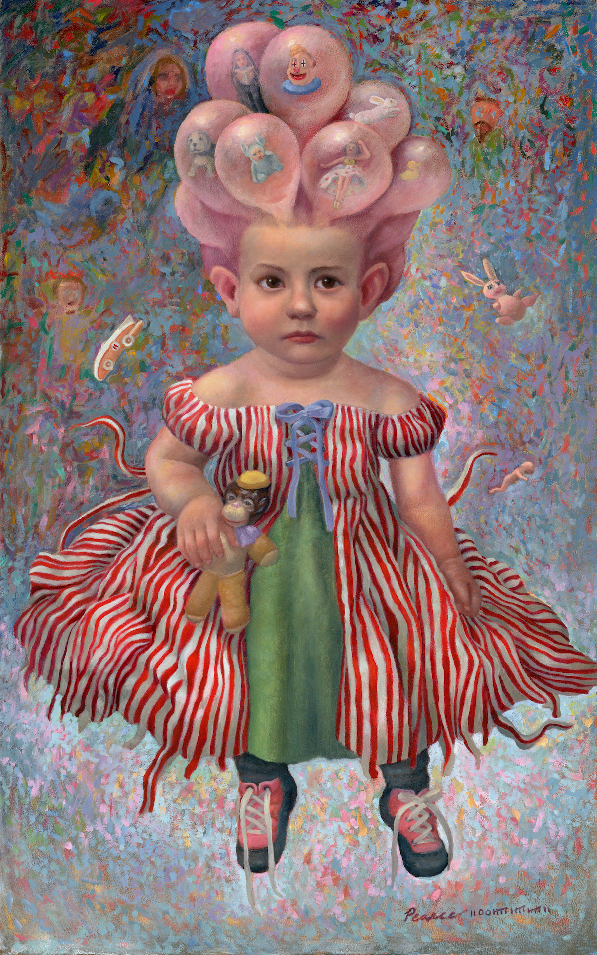 """""""Trouble With Bubbles"""" 15 inches x 24 inches, 2017, Oil on Panel SOLD  Bubbling with joy, she was uplifted beyond belief.  Blowing her mind, she landed…eventually…  33 miles west of normal."""