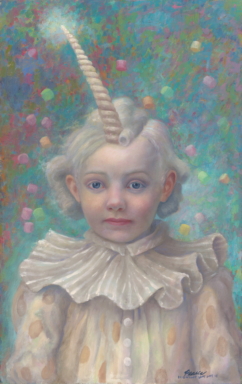 """""""Unicornelia"""" 10inches x 16 inches, 2017, Oil on Panel Sold  Unicornelia's are candicornivors, eating mostly sweet stuff.  They can be found in the wild, often negotiating Fairy trade agreements  with other myths and legends. According to King James,  """"the best way to catch the little beasts, is an offering of mini marshmallows.""""  Know this, if caught, beware! they will often run amuck and take off their reins at night."""