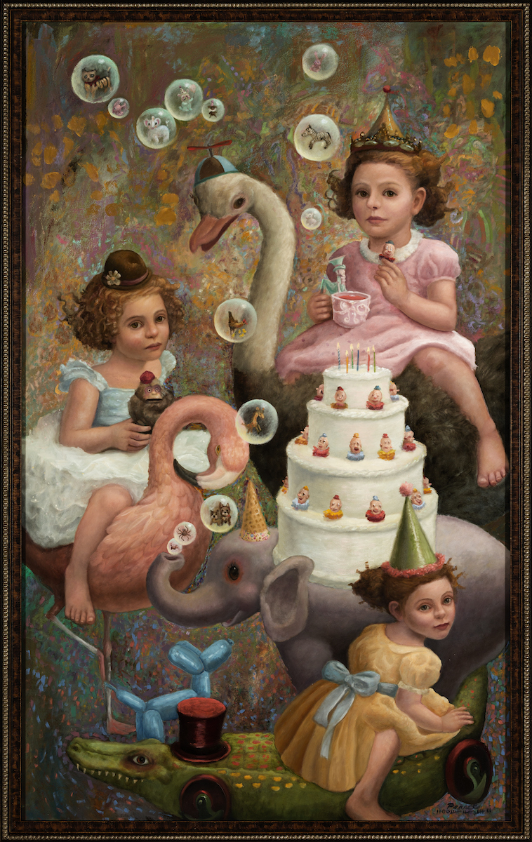 """""""Clown Cake"""" 36 inches x 24 inches, 2017, Oil on Panel SOLD  Circling the cake,  They licked the frosting.  It was an Odd cake,  Weeping with joy and sadness.  Nevertheless,  They consumed  All the kindness  They could eat."""