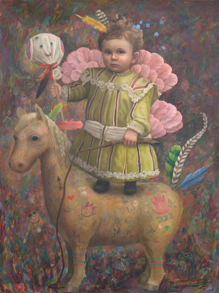 """""""Horse Feathers"""" 30 inches x 40 inches, 2017 Oil on Canvas SOLD  """"Horses are supposed to be quiet"""", whispered Nilly. """"Orphans are supposed to be nice"""", replied Willy. Time was running out and the sheep had to be counted. Eventually, they drifted into her wildest dreams. Fearing nothing, they embarked, accompanied, by Mr. Poopypants. Traveling the high and narrows, eating rabbits and snakes."""