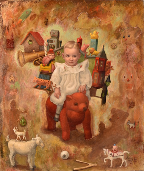 Peddler Jack, Oil on Panel, 20x24inches, 2018  SOLD  Perhaps,  Even dealing  With the Devil.  Outlandishly,  He rationalized  His jaunting about  by collecting Knickknacks