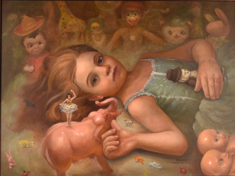 Lullaby, Oil on Panel, 15 x 20 inches, 2018 SOLD  Lullaby  The lights were unseen except for the luster of the angels beautiful yearning