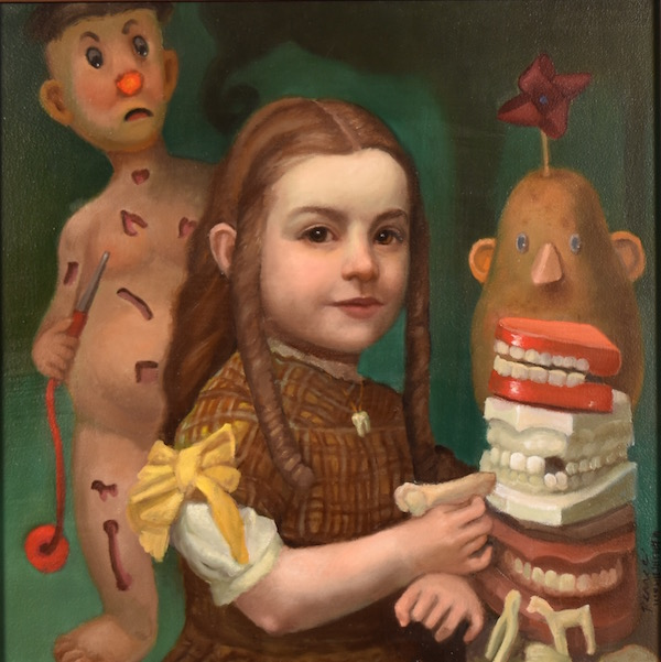 Sweet Tooth, Oil on Panel, 12 x 12 inches, 2018, Sold  Sweet Tooth  She was endlessly feeding them toys, in order to obscure the humming.