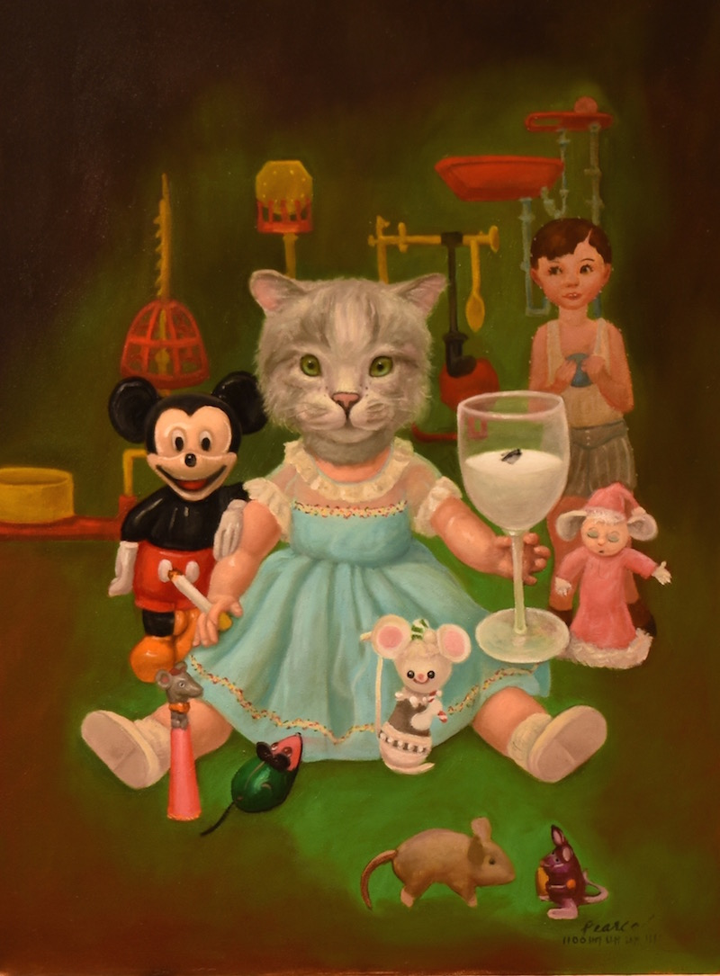 Pussface,  18 x 24 inches, Oil on Panel, 2019 Available  The pests uprising  Was soon spoiled  Forcing a  Catastrophic experiment