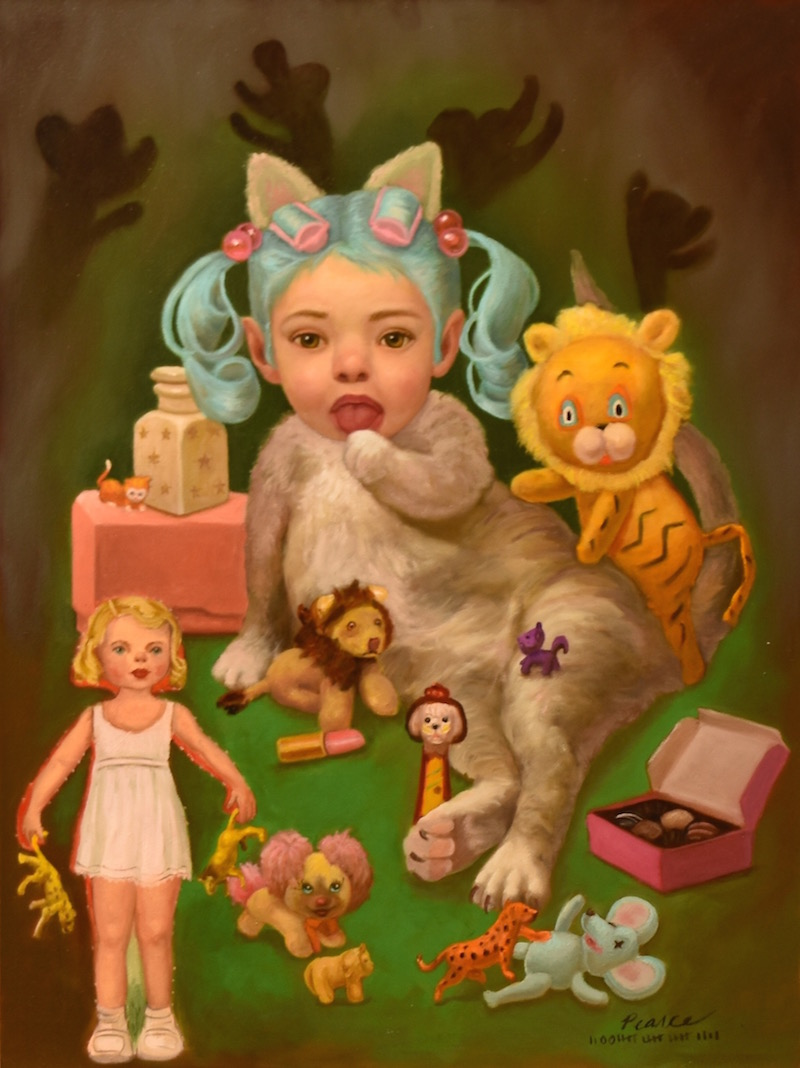 Dollface,  18 x 24 inches, Oil on Panel, 2019 Available  Delinquents  Organized loyally  While licking her fur  She assembled  A cat empire