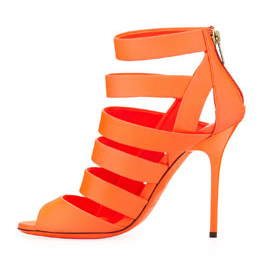 jimmy choo dame caged leather bootie, neon flame.